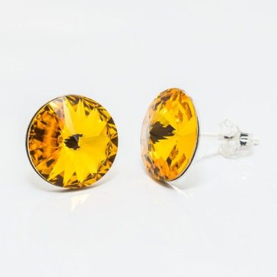 Swarovski Rivoli Earrings 12mm Sunflower  Dimensions: length:1,8cm stone size: 12mm Weight ~ 2,66g ( 1 pair ) Metal : sterling silver ( AG-925) Stones: Swarovski Elements 1122 12mm Colour: Sunflower 1 package = 1 pair
