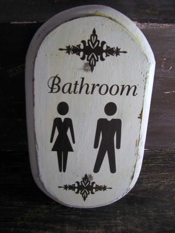 Handmade Bathroom Sign Male Female His by KnickKnackShabbyShac