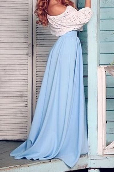 Solid Color Long Skirt
