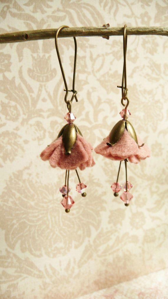25 off Earrings Pink felt and Swarovski flower by VerdigrisGifts