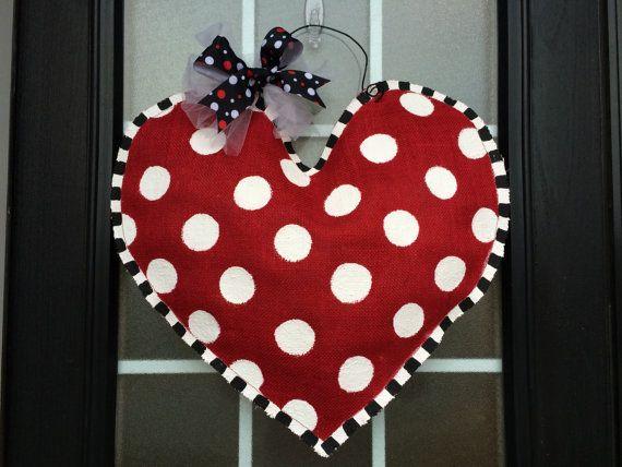 Extra Large Burlap Heart Door or Wall Hanger, Hand Painted Polka Dot Burlap Heart Door Hanger, Wedding Heart Decoration