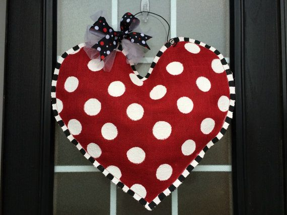 Hand Painted Burlap Valentine's Stuffed Heart Door or Wall Hanger, Extra Large Polka Dot Burlap Heart Door Hanger, by SnappyPea
