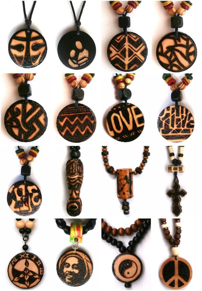 ETHNIC INSPIRED: MENS RASTAFARIAN, BOB MARLEY, CROSS, YIN YANG, LOVE, PEACE, AZTEC, WARRIOR MASK NECKLACE. African influenced, tribal wear, mens ethnic inspired fashion.