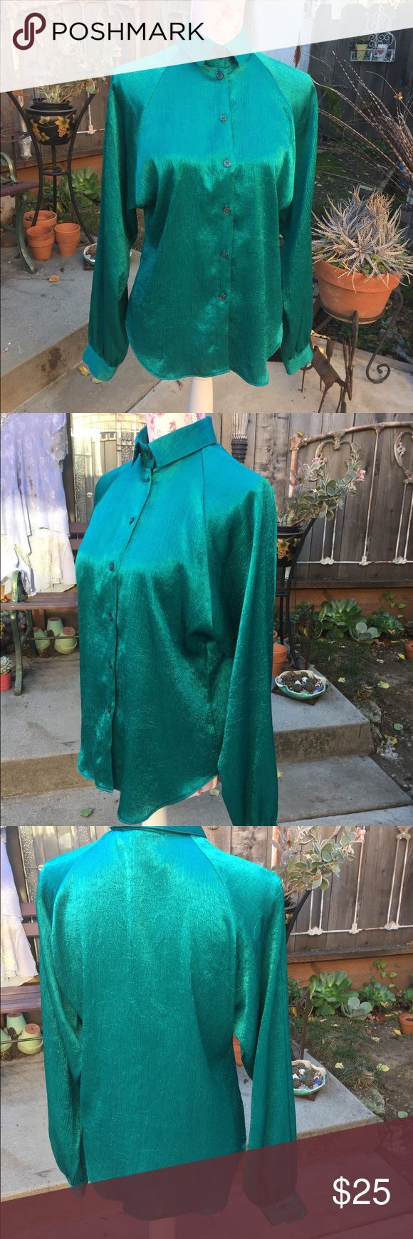 """Campus Casuals Satin long sleeve shirt Glamourus blue green wear in or untucked, jeans or skirt!  Shirt tail hem, 26"""" front, 24"""" arm length.... campus casuals Tops Blouses"""