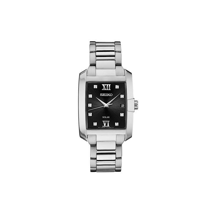 Seiko Men's Core Diamond Stainless Steel Solar Watch - SNE461, Size: Medium, Grey