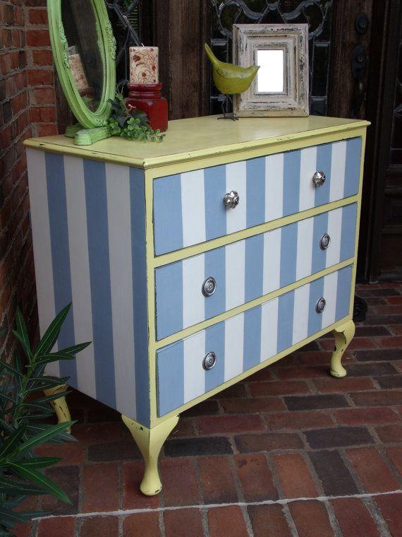 Shabby Chic Striped Dresser by BrooklynnChase on Etsy, $325.00