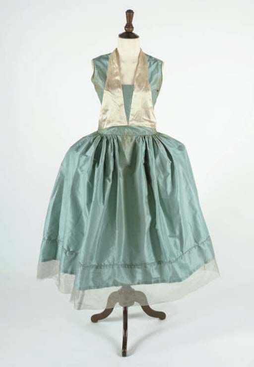 ROBES DE STYLE, 1920S  a turquoise silk gown, full skirt, with cream silk applied sailor-style collar, unlabelled, in the style of Lanvin