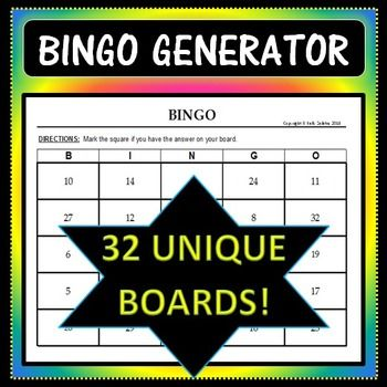 """Save yourself tons of time with this Bingo Board Generator! Simply input the 32 words/numbers/etc. you would like in your game boards, and the program will create 32 different boards - each using 24 of your 32 words, plus 1 Free Space. The boards are fully customizable, so feel free to make the title more specific (ie: World Capitols Bingo), rewrite the directions to apply to your activity (ie: """"Solve each system of equations. If you have the solution on your board, mark it off""""), etc."""