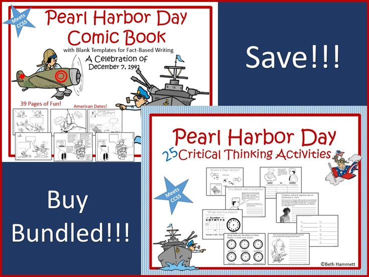 Pearl Harbor Comic Book and Pearl Harbor 25 Activities  Pearl Harbor Comic Book Use cause and effect, inferencing and critical thinking skills to complete this 39 page ready-to-make, fact based Pearl Harbor Day comic book plus 25 activities.