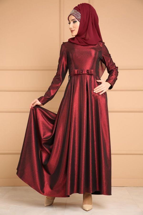 Eva Simli Tesettur Abiye Mhr0526 Bordo The Dress Moda Stilleri Gelinlik