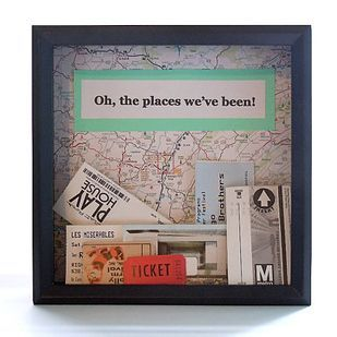 Travel-themed shadow box for all of those loose tickets. this is so cool! To bad I don't travel.
