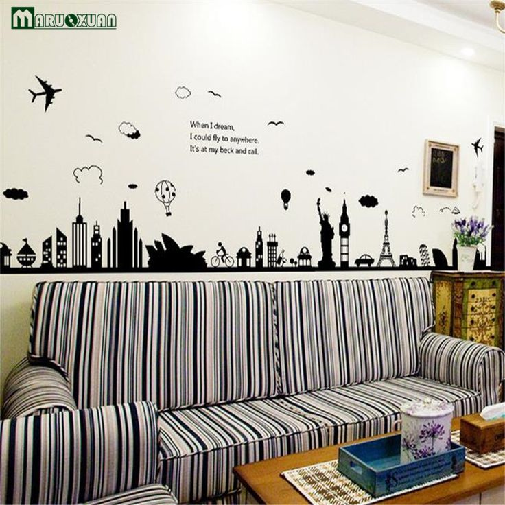 Maruoxuan New Modern Removable Wall Stickers Large Black Eiffel Tower  Sydney Greek City For Living Room Part 98