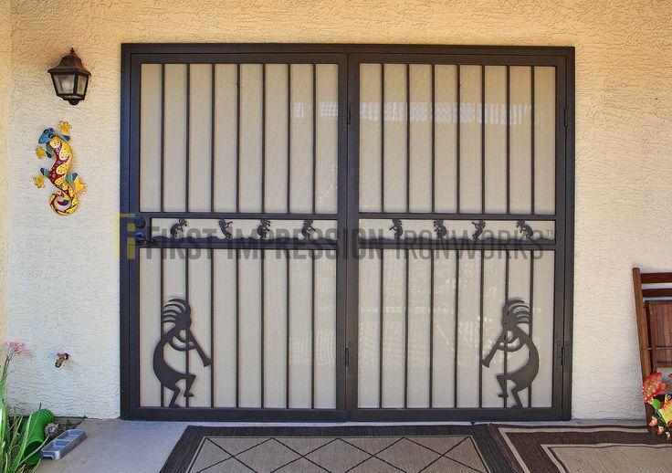First Impression Ironworks Southwestern Front Door #ornamentaliron #frontdoor #irondoor #customiron #ironartwork #southwest #kokopelli
