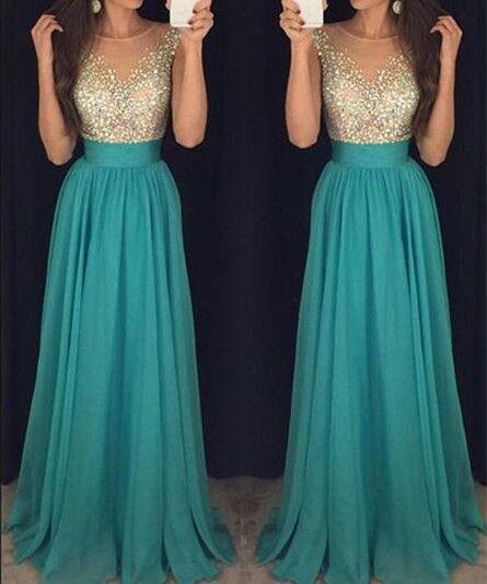 LJ28 New Arrival Blue Prom Dress,Chiffon Prom Dress,Beading