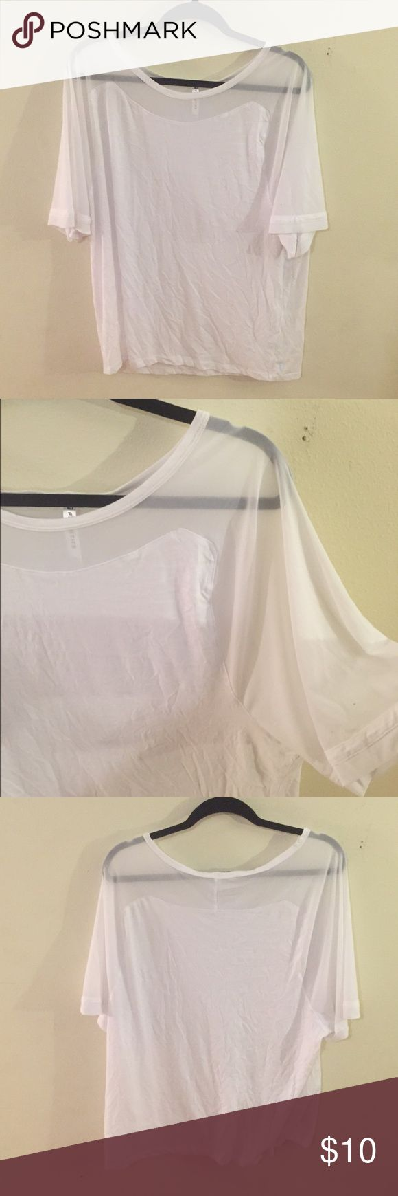 Fabletics White Workout Shirt White workout shirt with see through cut outs Fabletics Tops Tees - Short Sleeve