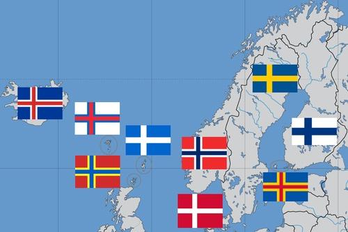 Nordic Cross flag - Wikipedia, the free encyclopedia.....Iceland, Farce Islands, Orkney Islands, Shetland Islands, Denmark, Norway, Sweden, Aland Island, Finland.