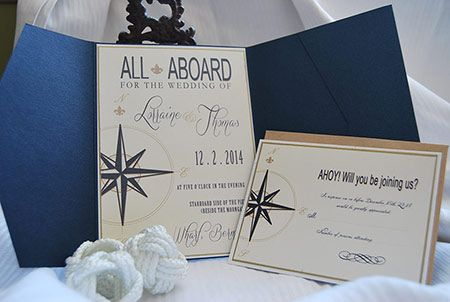 Nautical themed invitation.  Perfect for a nautical or cruise ship wedding.  Can be custom designed to any colour combination.  Ahoy!