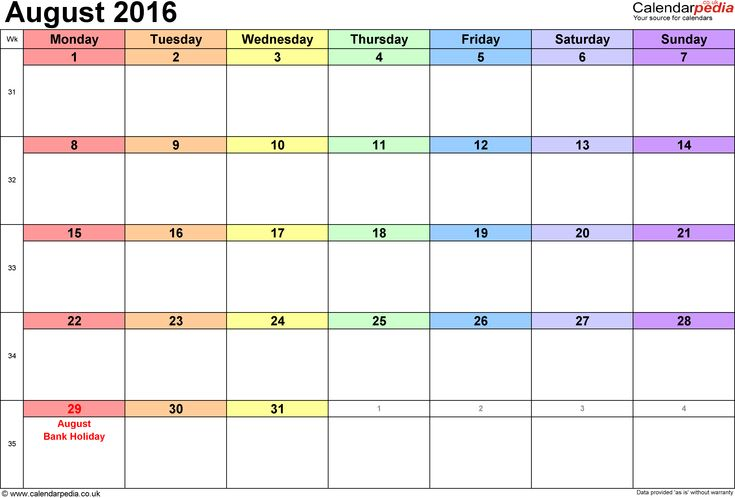 Calendar August 2016, landscape orientation, 1 page, with UK bank holidays and week numbers