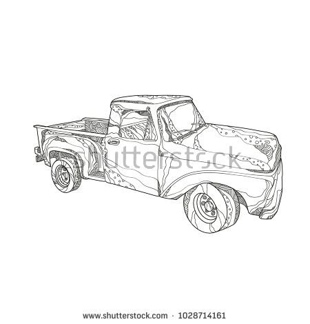 Doodle art illustration of a vintage pickup truck, a light duty truck with enclosed cab and an open cargo area with low sides and tailgate done in mandala style.  #pickuptruck #doodle #illustration