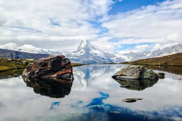 A cloudy Matterhorn reflected in Stellisee this morning. Discovered by Tom Page at Stellisee, Zermatt, #Switzerland