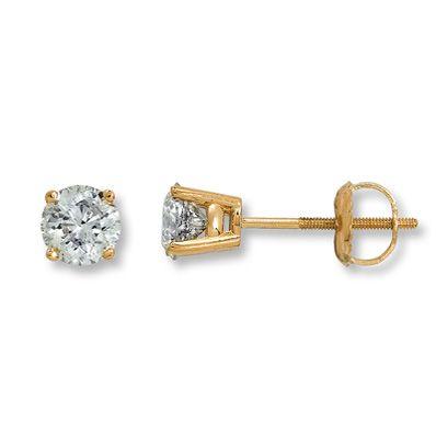 bda348835 Diamond Solitaire Earrings 1 ct tw Round-cut 14K Yellow Gold | Products |  Diamond solitaire earrings, Earrings, Solitaire earrings