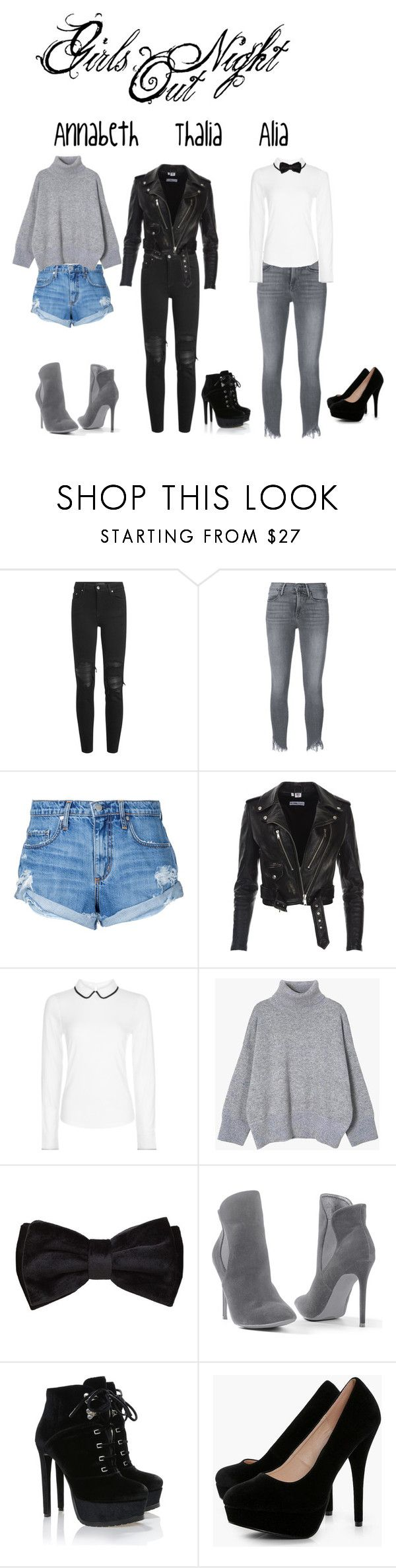 """CHB: GIRLS NIGHT OUT"" by cha62874 ❤ liked on Polyvore featuring AMIRI, Frame, Nobody Denim, Hobbs, MANGO, Venus and Boohoo"