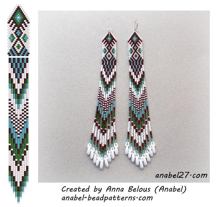 Схема сережек из бисера - мозаичное плетение Free beaded earrings pattern - peyote earrings #beadwork #handmade