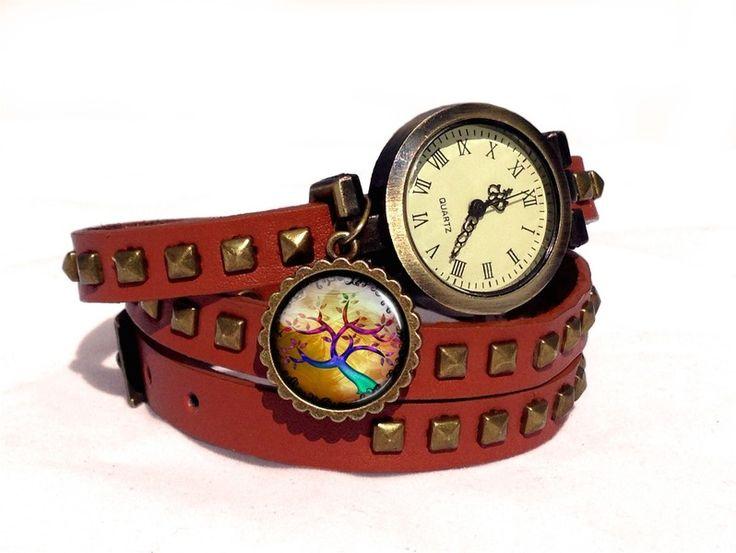Leather watch bracelet - Autumn tree, 0607WLBC  from EgginEgg by DaWanda.com