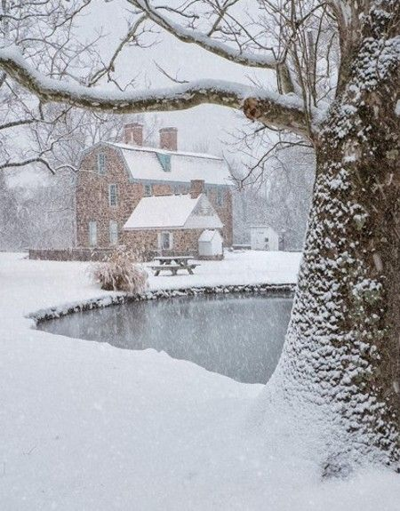 Snowing At The Barn & Pond