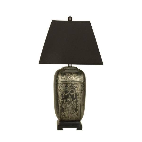Wenling Chinese Ceramic Table Lamp  The Wenling Table Lamp is a sophisticated black Chinese ceramic table lamp that features a wonderful intricate hand applied gold design and black tapered square shade (supported by a harp). The Wenling would make a great feature light in any of your living spaces.
