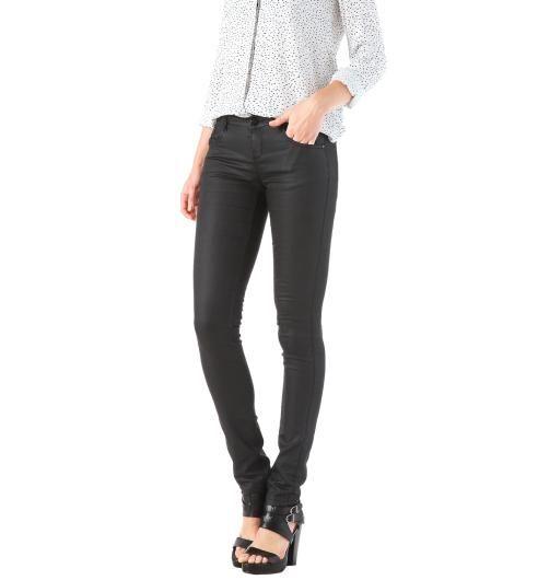 Beschichtete Jeans schwarz