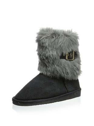 61% OFF Rugged Bear Kid's RB13189 Boots With Top Fur And Buckle (Black Suede)