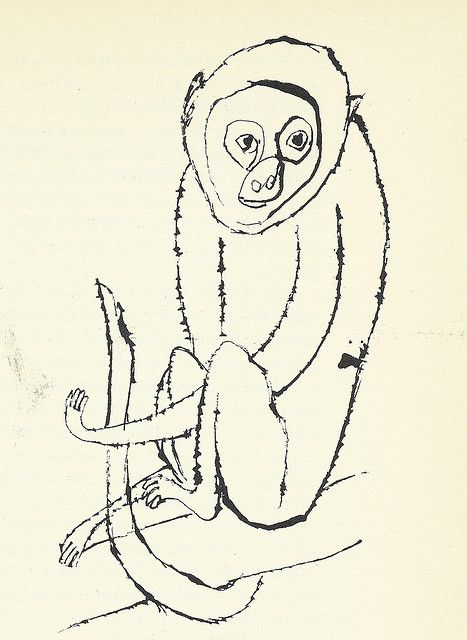 """Monkey"" by Ben Shahn- His style is really simple. The drawings almost look like sketches, with no shading and with simple lines. It is not exactly realistic because of the simpleness to it."