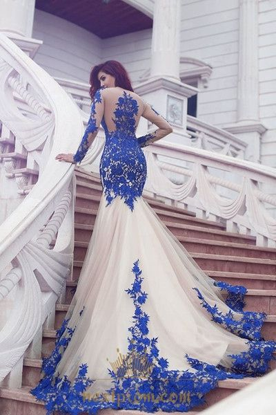 NextProm.com Offers High Quality Vintage Long Sleeve Sheer Lace Applique Embellished Tulle Prom Dress,Priced At Only USD $158.00 (Free Shipping)
