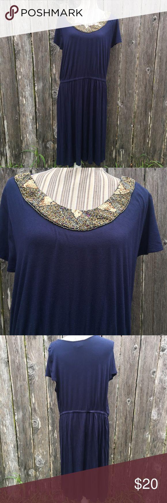 Lane Bryant Navy Blue Dress Gold Neck Trim 18/20 Lane Bryant Navy Blue Dress Gold Neck Trim Size 18/20 excellent condition from a smoke free home Lane Bryant Dresses