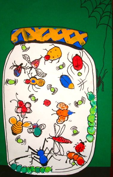 Thumbprint art   bugs in a jar   summer arts and crafts for kids   thumbprint bugs!