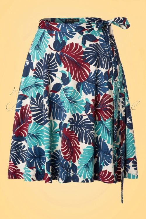 King Louie Circle Wrap Cream Palm print Skirt red and blue varen print rok creme wit rood en blauw