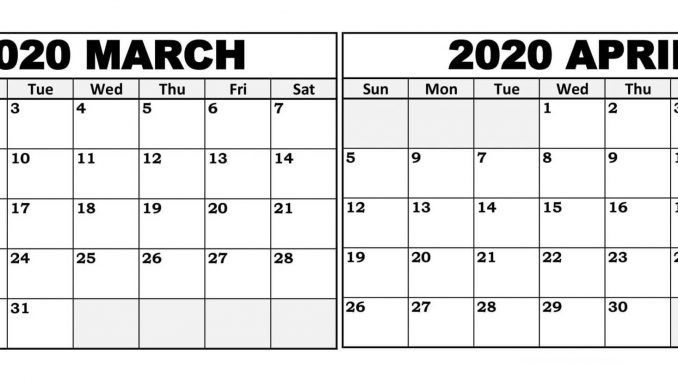 Cute March April 2020 Calendar Template 2019 Calendars For