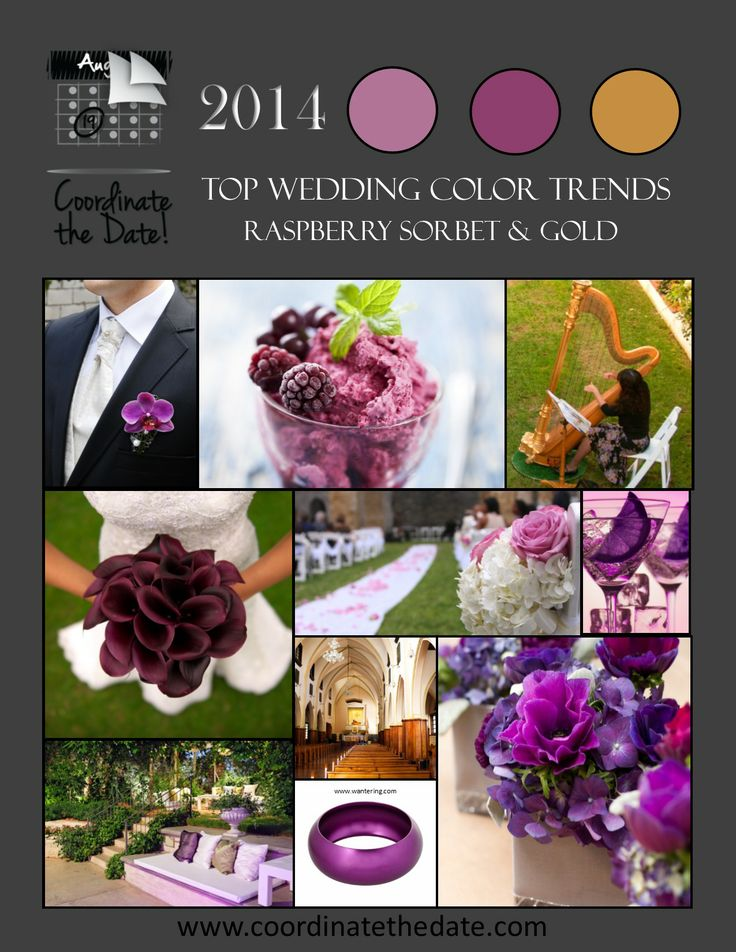 Top #Wedding and #Event #ColorTrends for #2014, #Raspberry Sorbet and #Gold.