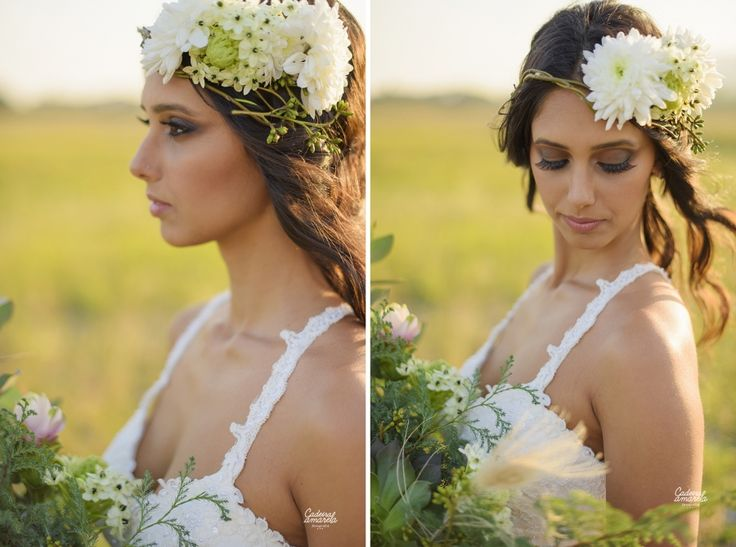 Acessório para o cabelo da noiva com flor natural - Casamento Romântico   Boho no campo - Produção Lápis de Noiva