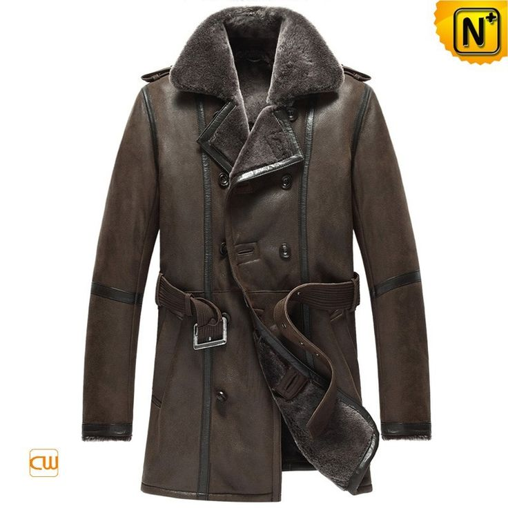 CWMALLS® Brown Double-Breasted Sheepskin Coat CW856080 - Brown sheepskin shearling pea coat for men, beautifully designed with double button closure, leather epaulet on shoulder and leather belt at the wait to offer a nice look, premium sheepskin shearling material to give the best comfort, warmth and breathability, you will find this brown sheepskin pea coat perfect for dressing up on a cold winter day.