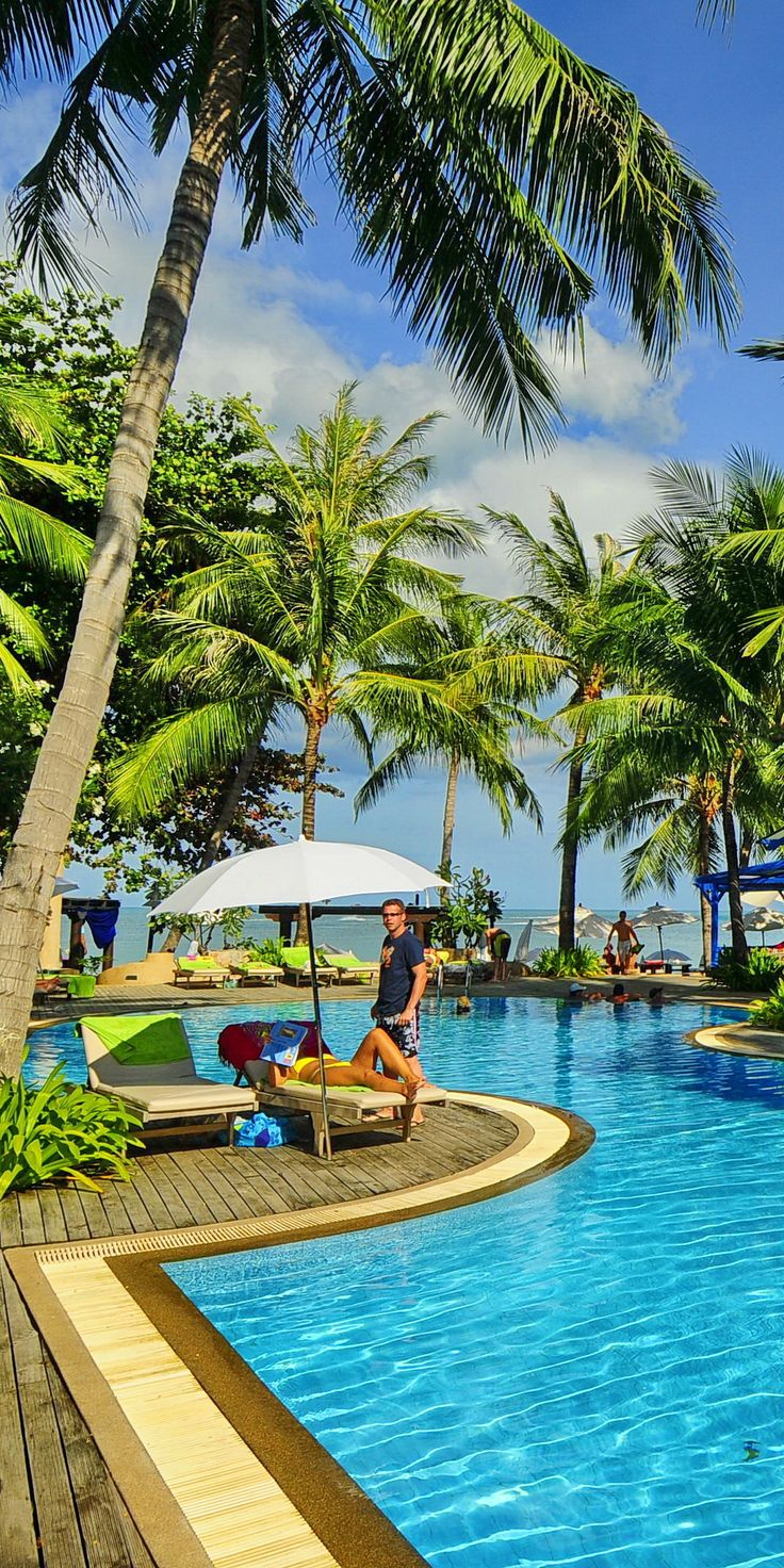 Baan Samui Resort is brightly coloured and the interiors are bright, airy and bold with wooden floors that lead out to the terrace and the natural surroundings.