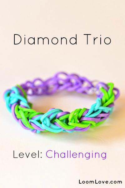 Rainbow Loom diamond trio bracelet
