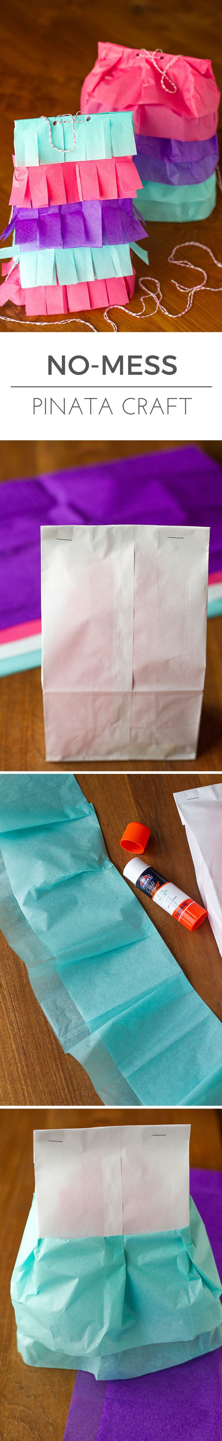 No-Mess Piñata Craft -- this mess-free paper bag pinata craft is perfect for rainy days and birthdays alike! No messy balloons with gloppy flour paste and newspaper, so your kitchen stays clean. | via @unsophisticook on unsophisticook.com