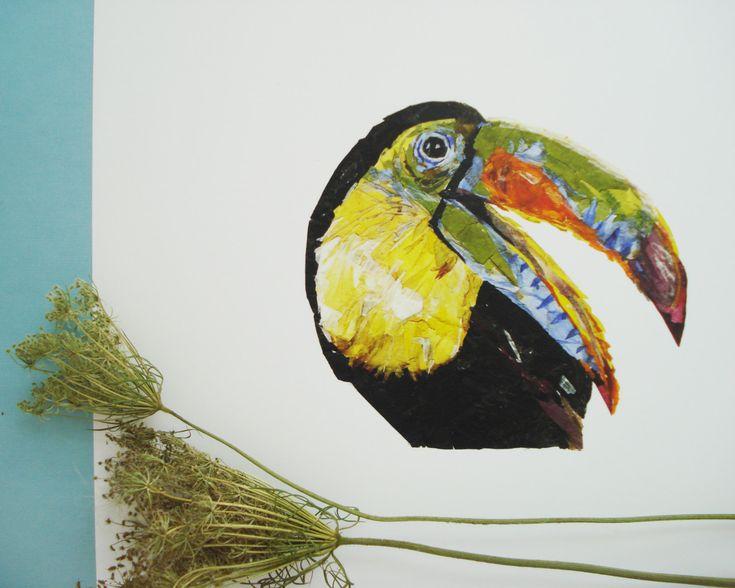 Parrot painting Print Pressed flowers Bird prints Flower illustration Unique…