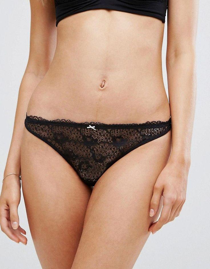 Heidi Klum Intimates Fleur Fantasy Thong - Black
