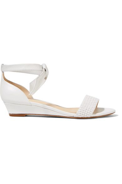 Alexandre Birman - Atenah Bow-embellished Leather Wedge Sandals - White