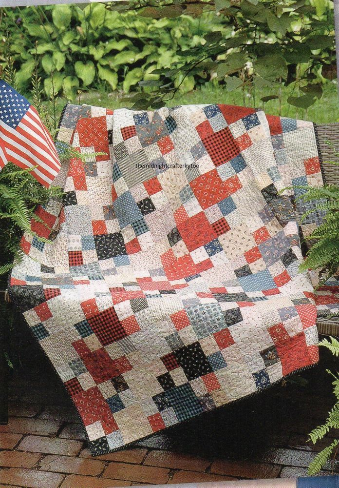 Patriotic Patchwork. These are actual pages from a magazine in a protective plastic sleeve. It is an adorable, easy to do, design. A magazine page may be color photocopied if another pattern appears on the back of one of the pages in the pattern. | eBay!