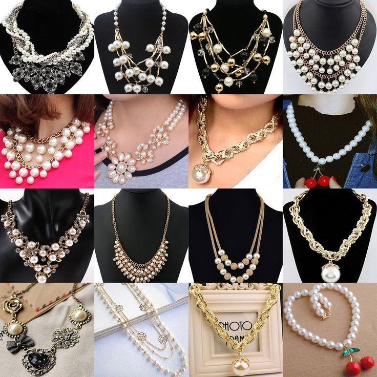 N Fashion Women Pendant Chain Choker Chunky Pearl Statement Bib Necklace Jewelry #Unbranded