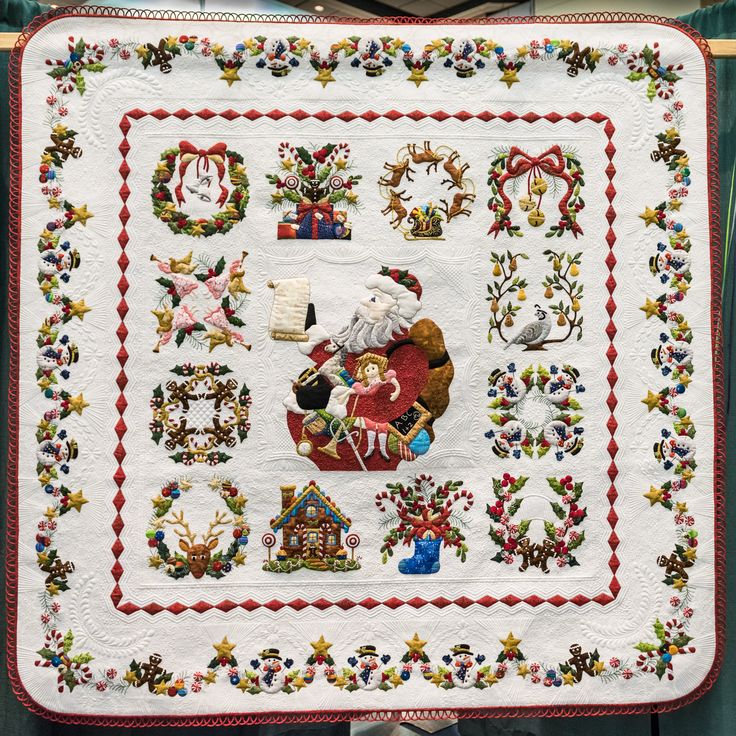 "Best of Show - ""Twas the Night Before Christmas"" by Linda Neal.  2014 Quilters Guild of Plano (Texas).  Baltimore Christmas pattern by Pearl P. Pereira."